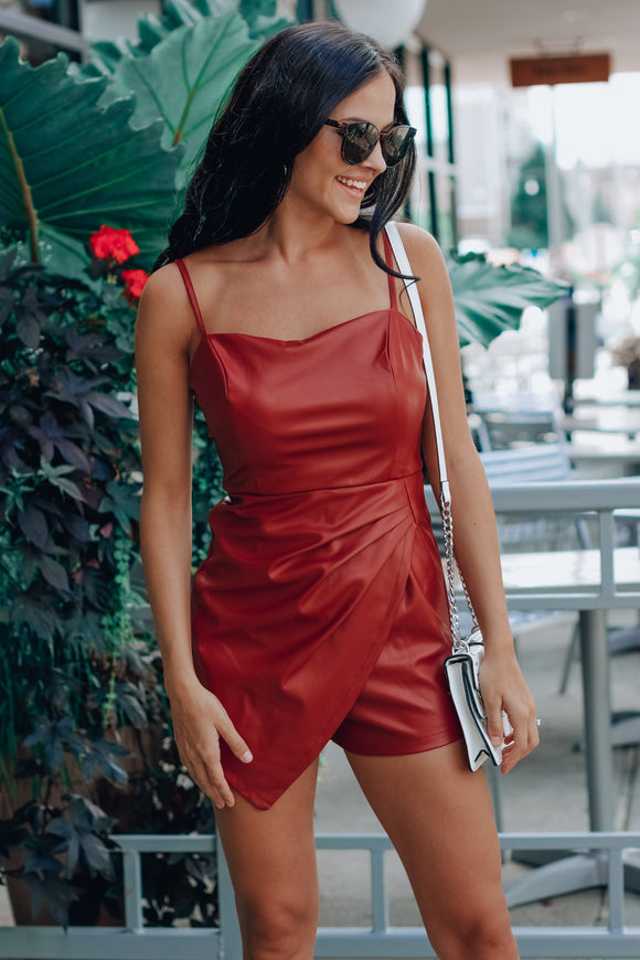 Red Maddisun Pleather Romper