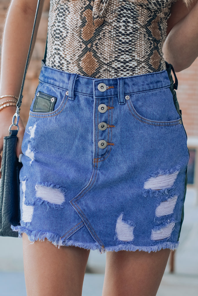 Party Like A Rockstar Denim Leather Skirt