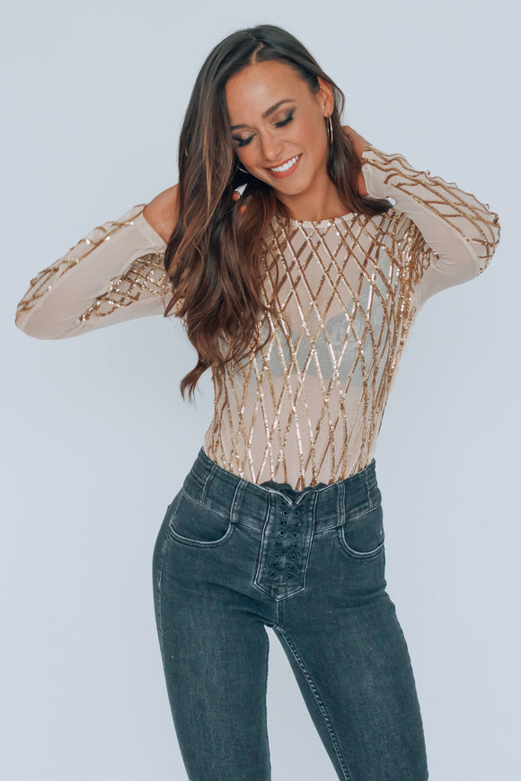 Gold New Years Sequin Bodysuit