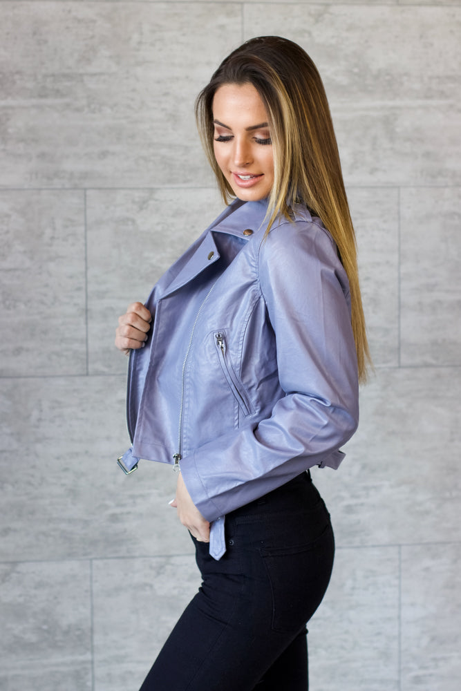 Grey Faux Leather Jacket