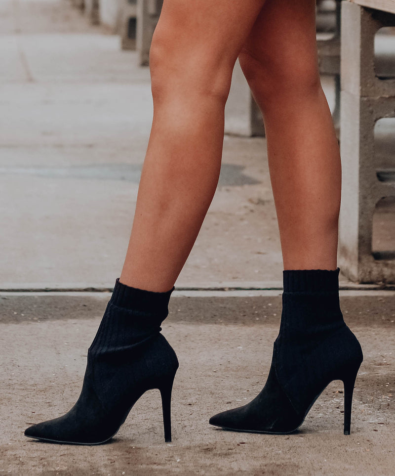 Sleek and Stated Black Sock Bootie