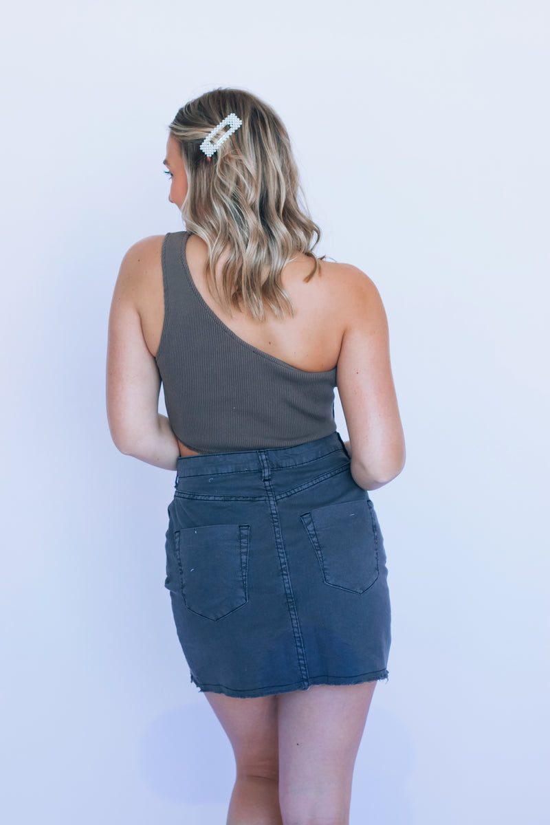Penny Button Up Charcoal Denim Skirt