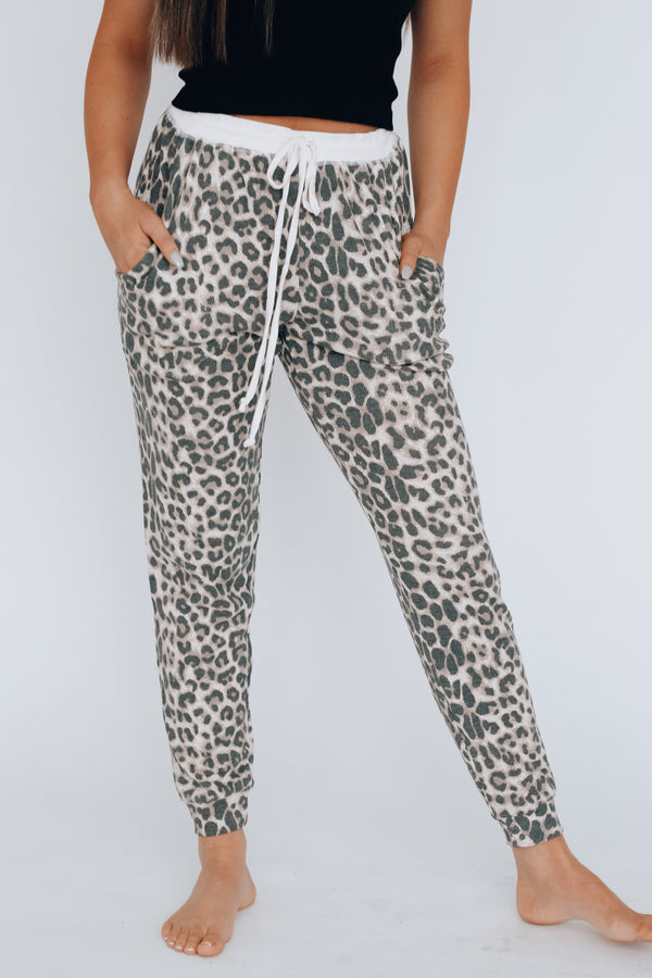 RESTOCKED: Lounge Around Cheetah Joggers