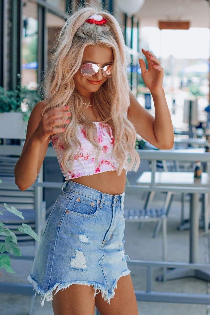 We Love Tie Dye Pink Crop