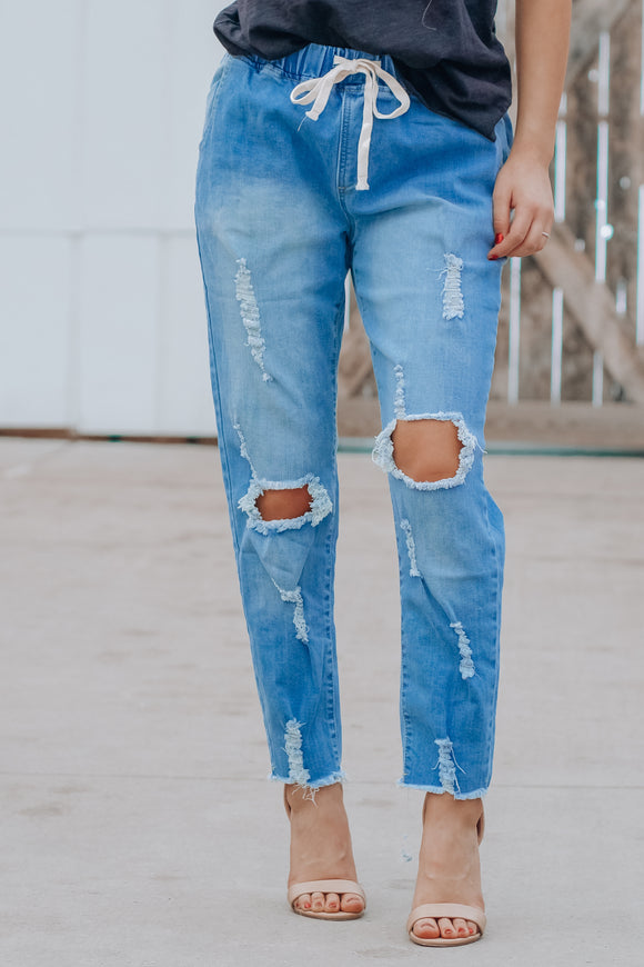 On My Way Denim Joggers