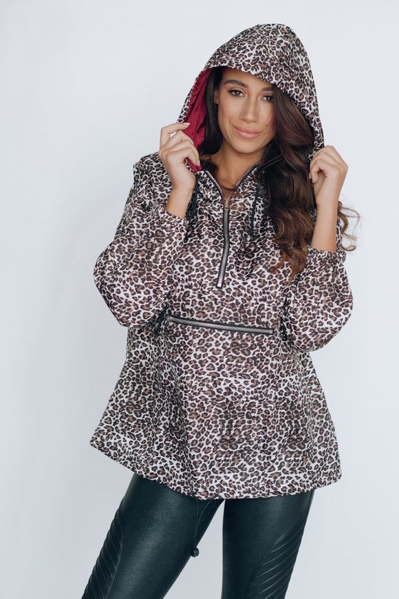 Animal Print Quarter-Zip Windbreaker