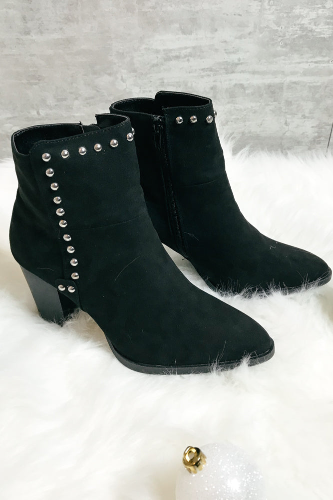 Studded Black Bootie