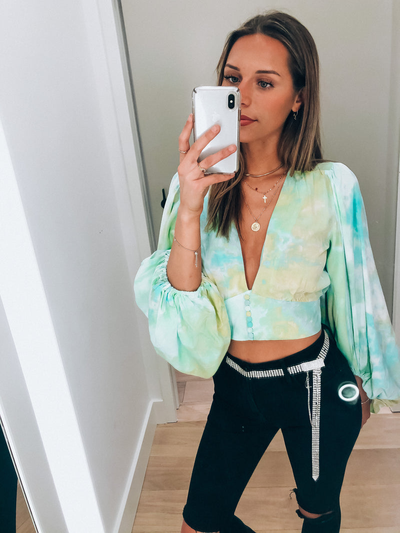 Aqua Tie Dye Joy Long Sleeve Crop