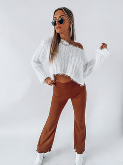 Textured White Fuzzy Crop Sweater