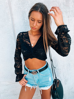 Talk Flirty To Me Lace Crop Top