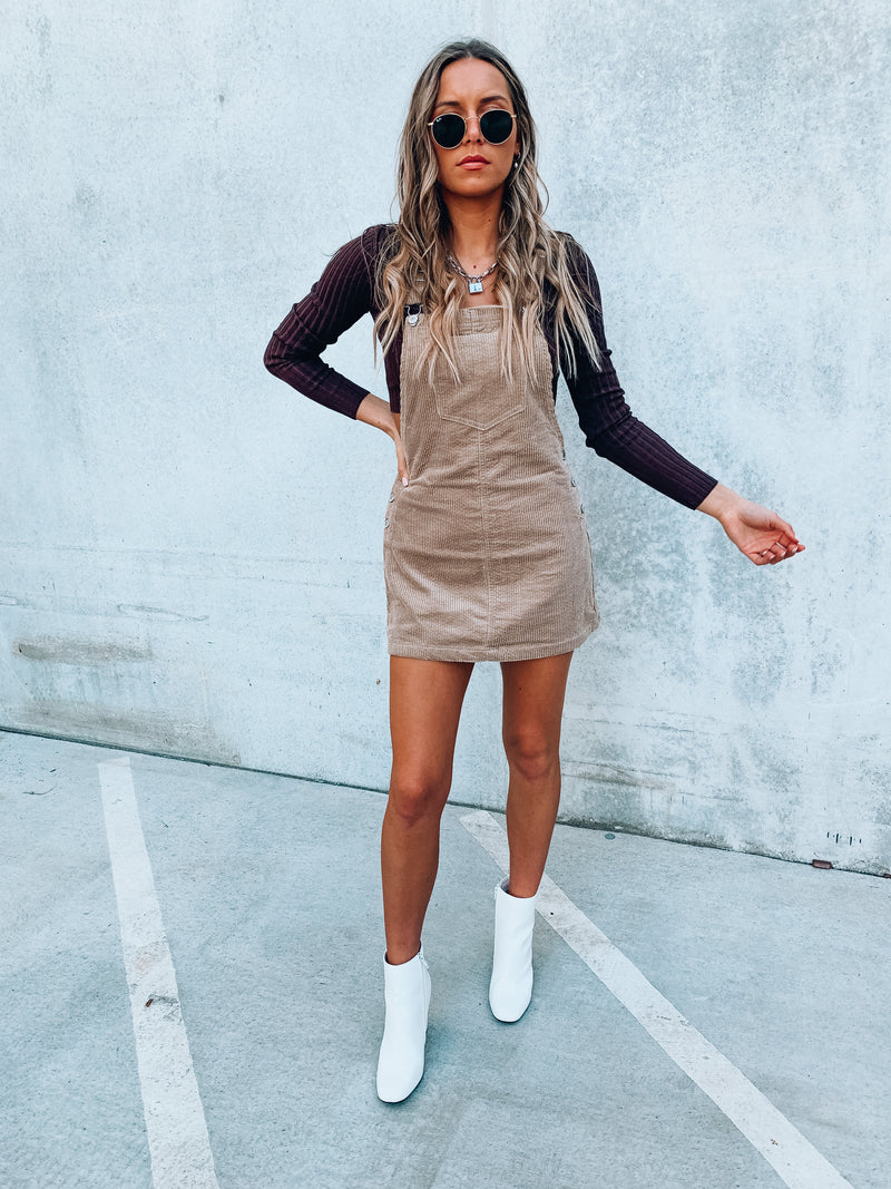 Tan Corduroy Overall Dress