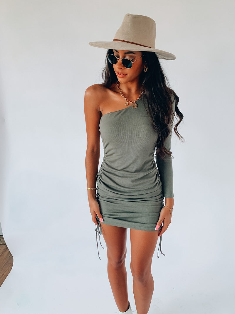 Olive One Shoulder Cinch Dress