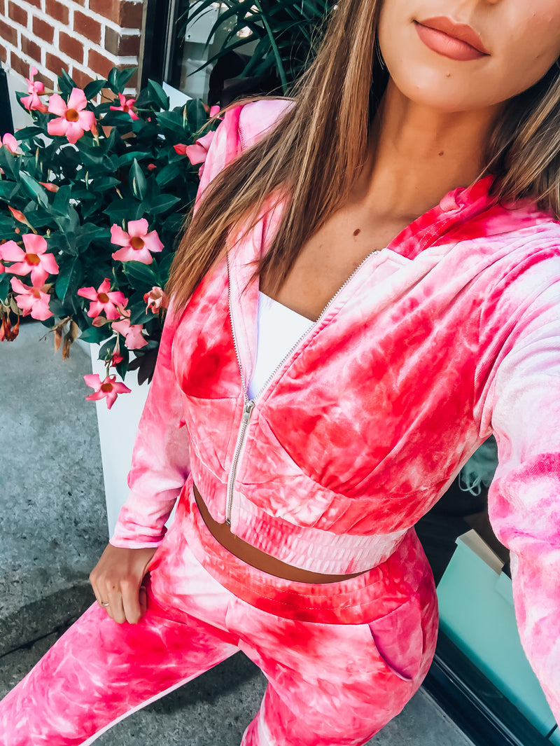 Hot Pink Karsyn Tie Dye Pant Set