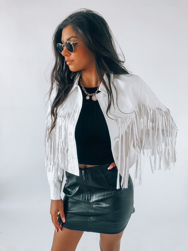 Western Fringe White Pleather Jacket