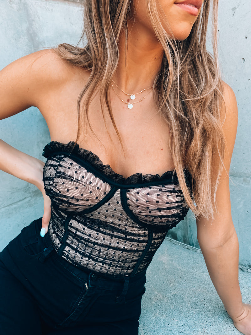 Black Emersyn Bustier Bodysuit