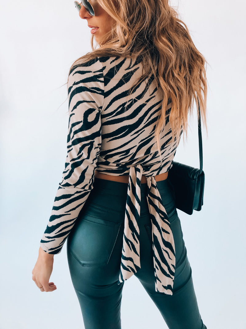 Zebra Print Long Sleeve Tie Top