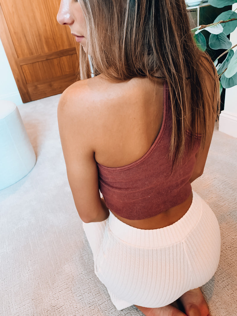 Cropped Kennedy Racerback Ribbed Tank Top