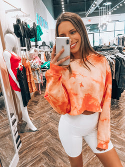 Orange Tie Dye Cropped Crewneck