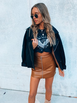 Vince Pleather Zip Up Skort