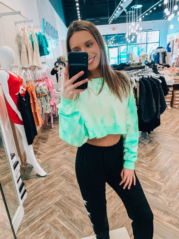 Lime Tie Dye Cropped Crewneck