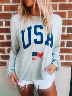 RESTOCKED: Grey USA Sweatshirt