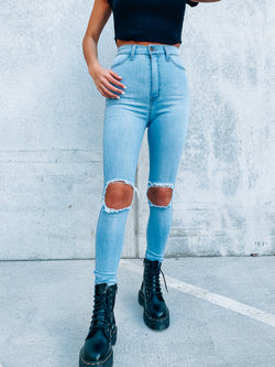 Ultra High Rise Light Wash Denim
