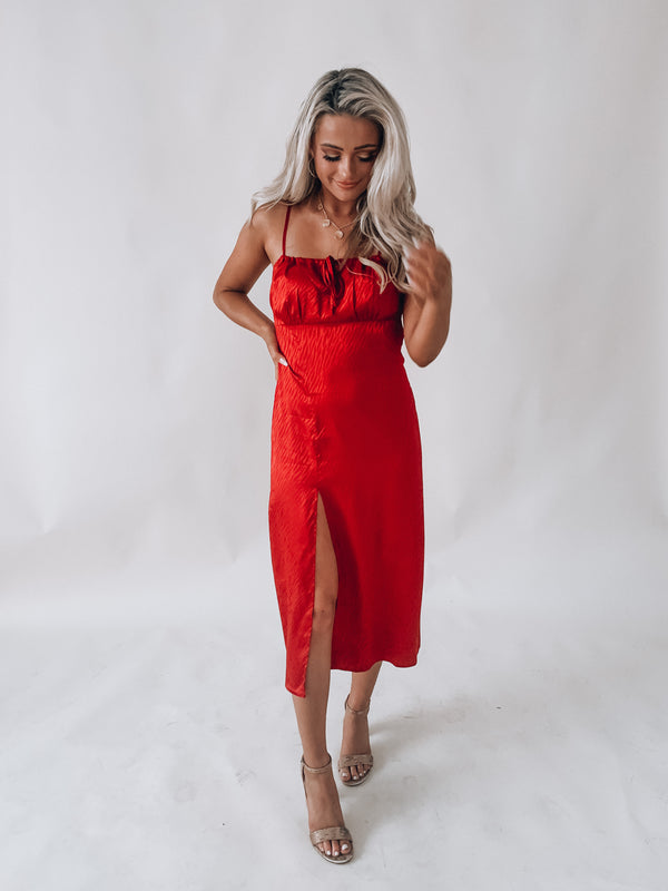 Red Zebra Midi Dress