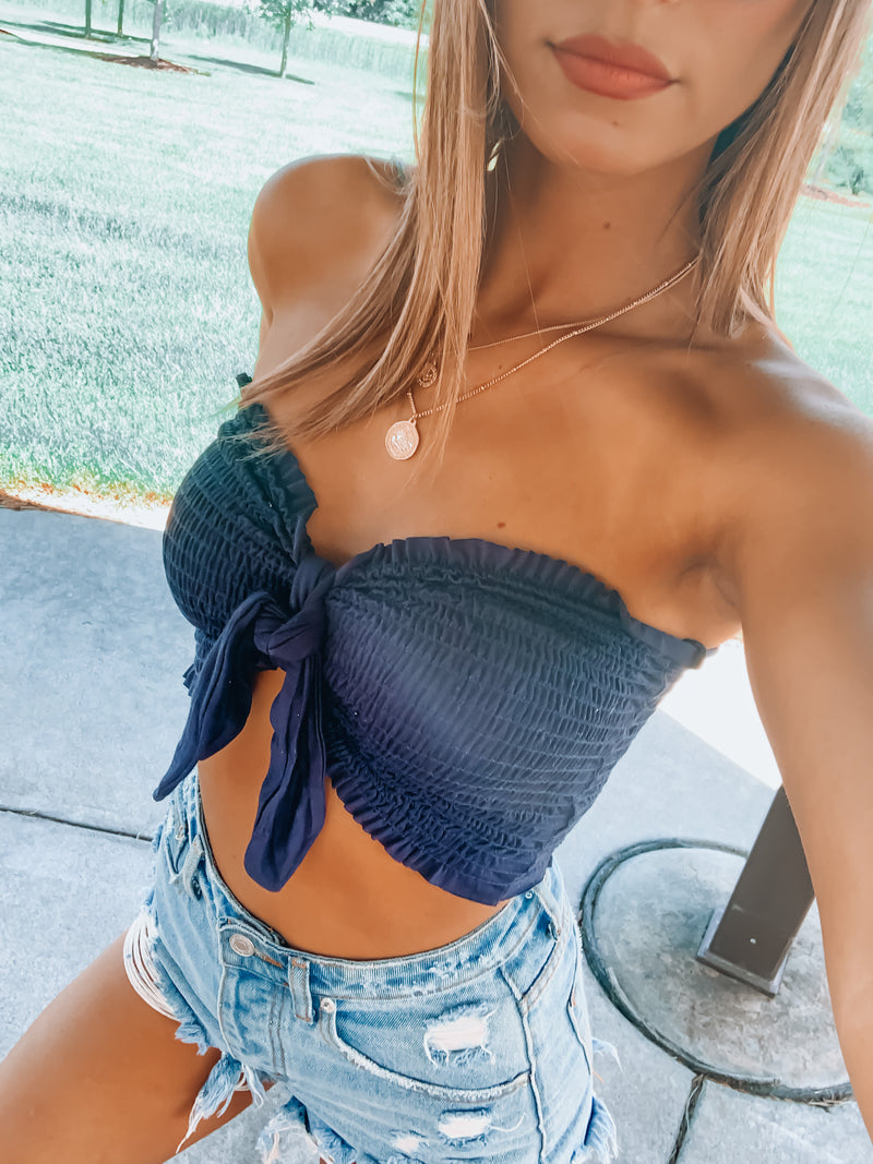 Blue Knot It Up Tube Top