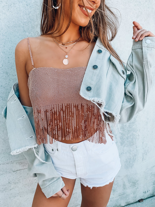 Rose Gold SO EXTRA Fringe Fully Stoned Top