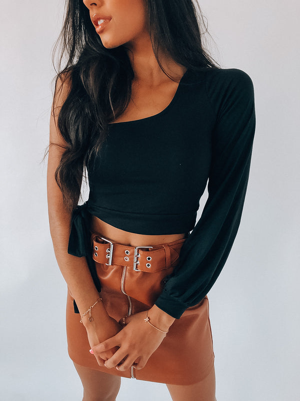 Black Penney One Shoulder Tie Top