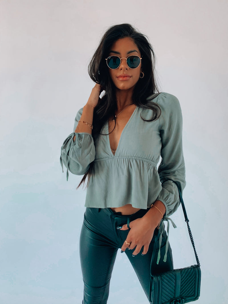 RESTOCKED: Sage James Peasant Top