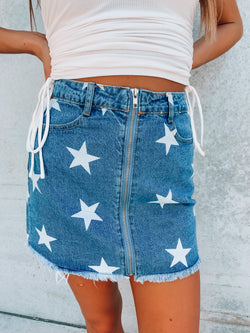 I'm a Star Zip Up Denim Skirt