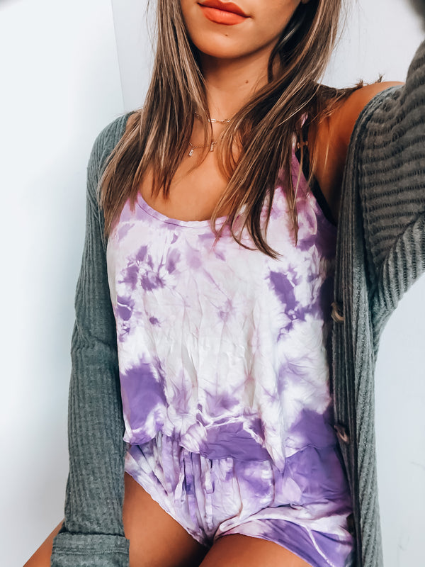 Waves Purple Tie Dye Short Set