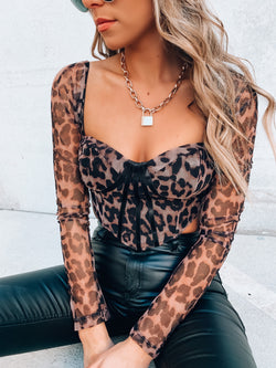 Leopard Bustier Long Sleeve