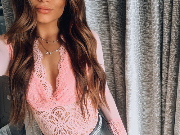 Pink Fawnia Lace Bodysuit