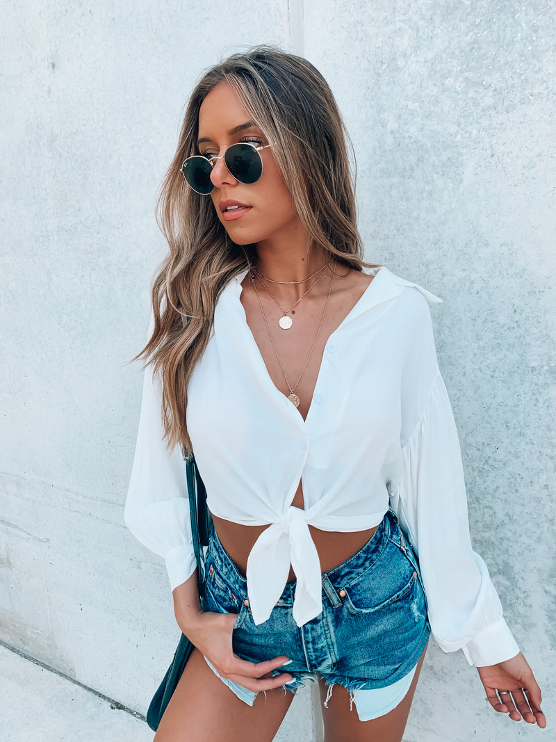 Chase Cropped Balloon Sleeve Blouse