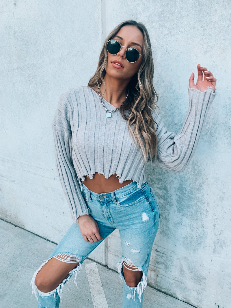 Fall In Line Distressed Sweater