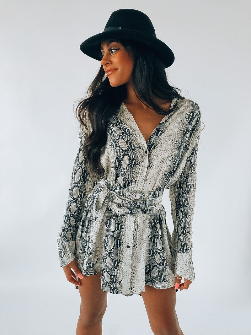 For Goodness Snake Long Sleeve Dress