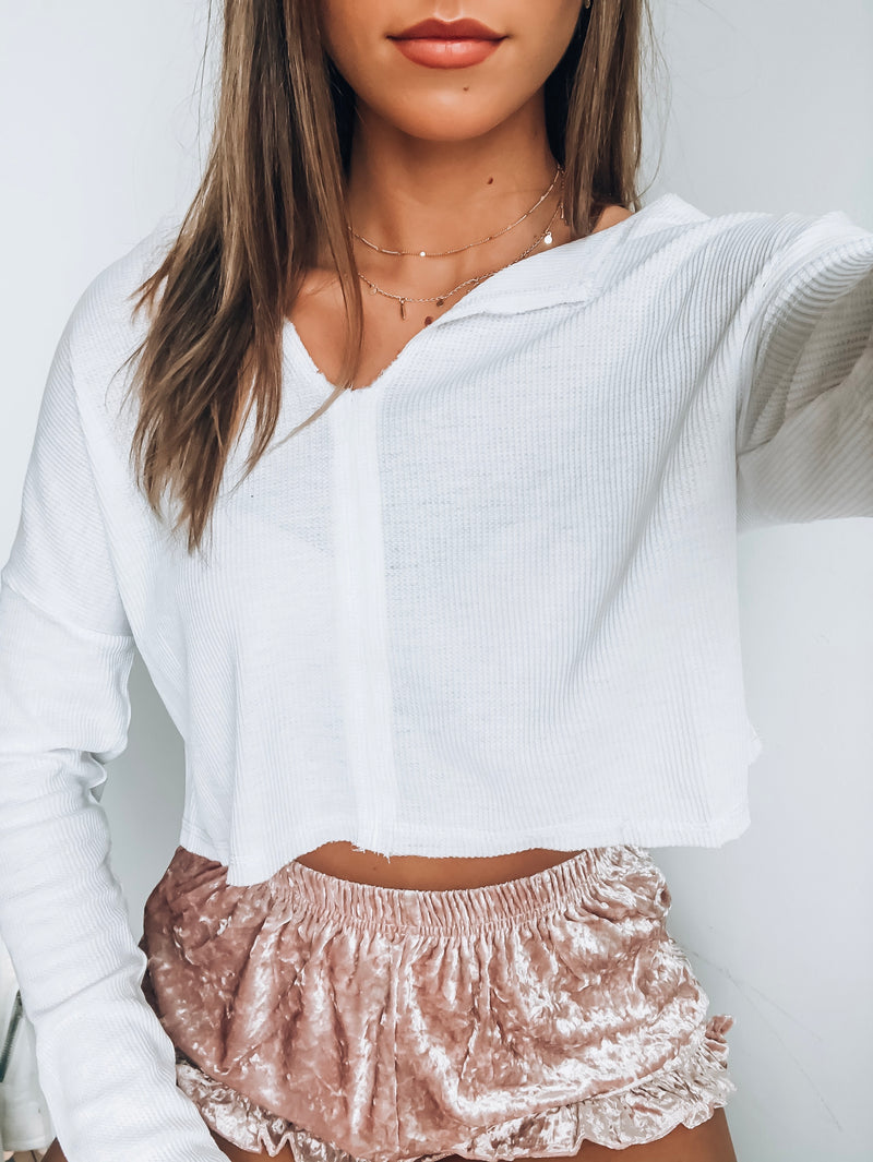 RESTOCKED:White Cropped Burnout Thermal