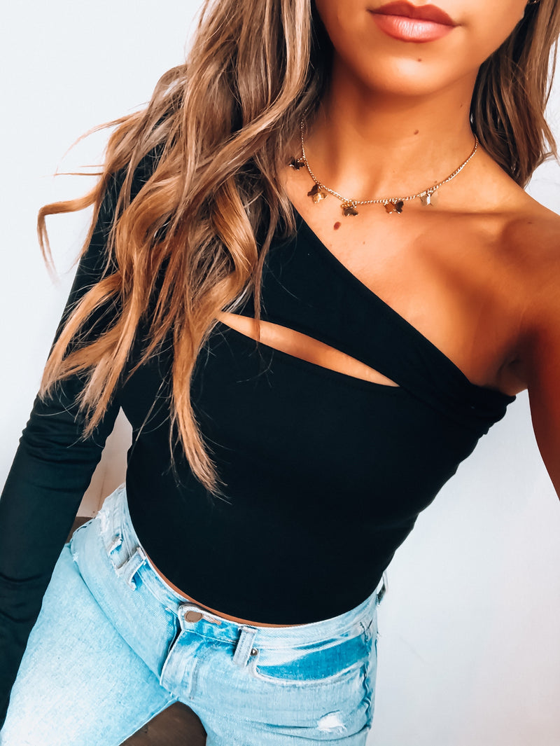 RESTOCKED: Black Gia One Shoulder Top