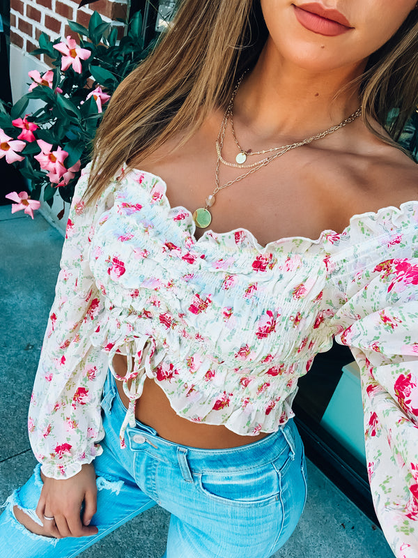 Pink and Yellow Full Bloom OTS Top