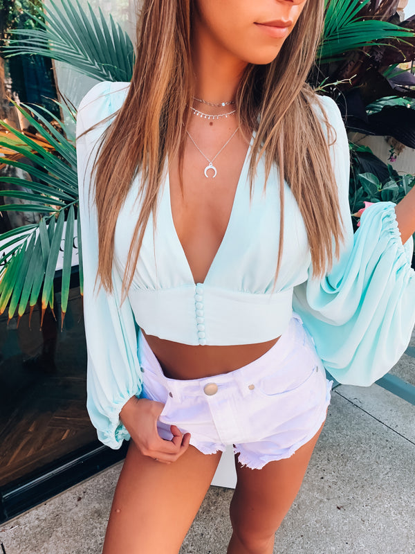 Mint Joy Long Sleeve Crop