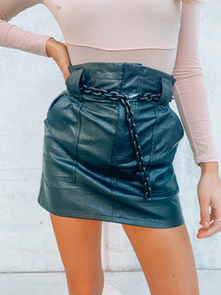 Got Me In Chains Leather Skirt