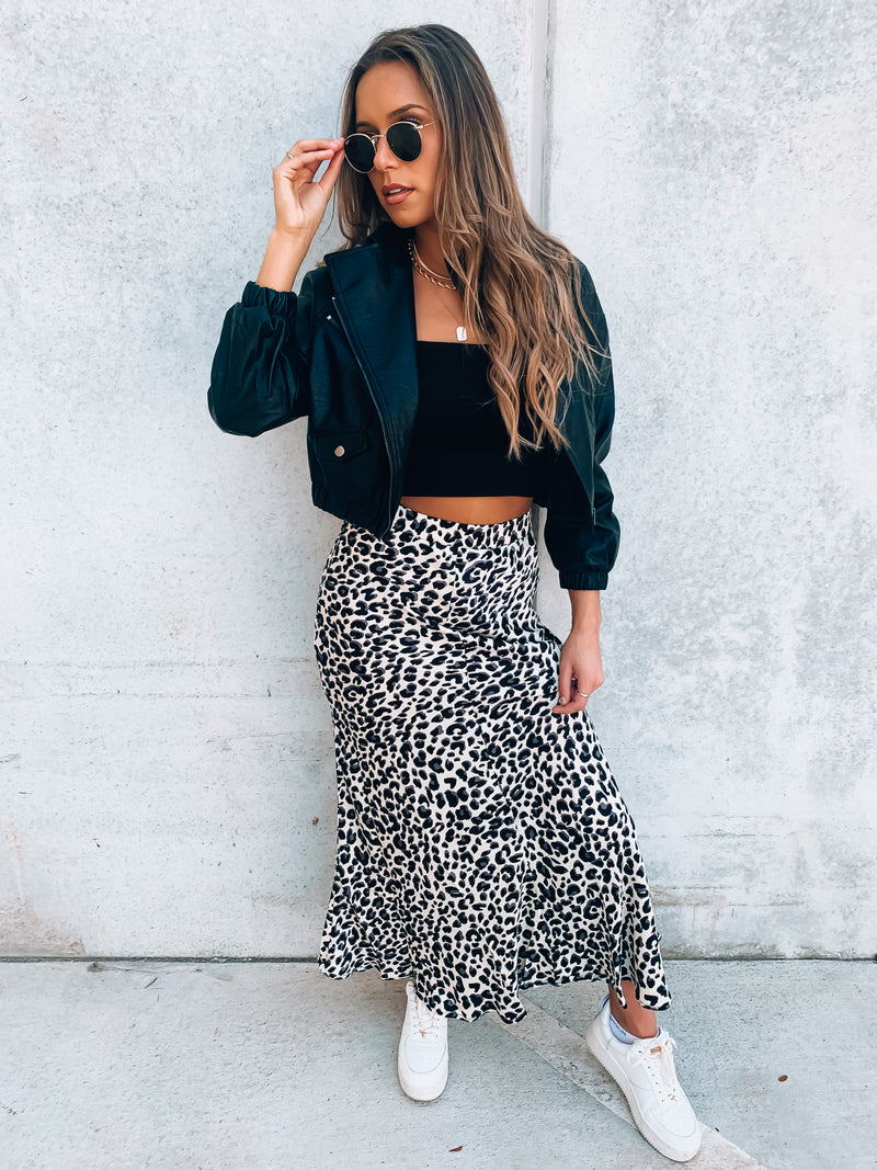With The Flow Cheetah Midi Skirt