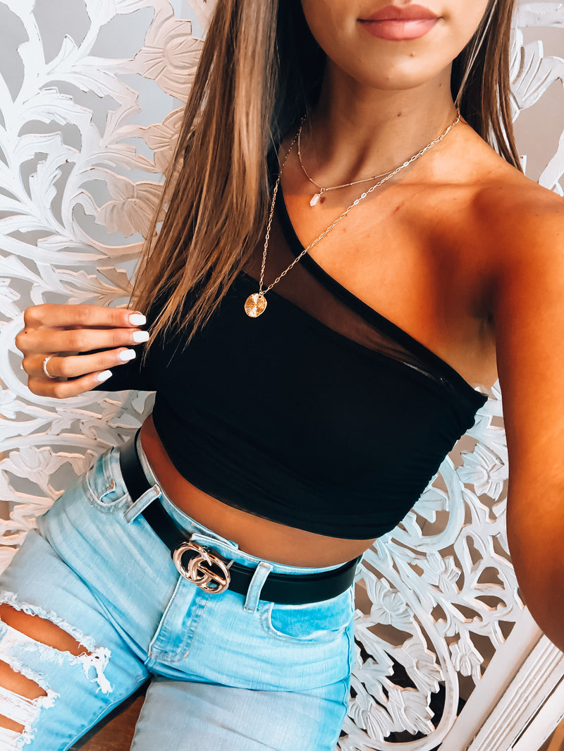 Ebony Michelle One Shoulder Mesh Top