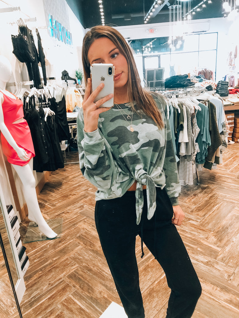 Camo Off The Shoulder Knot Top