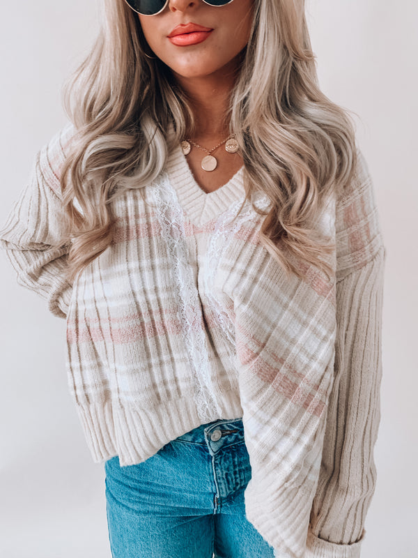 Vanilla Lacey Crop Sweater