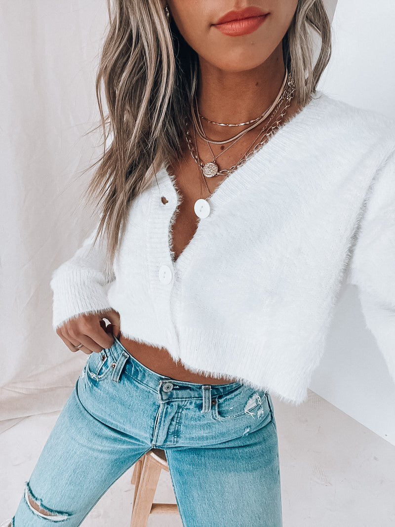 White Textured Cropped Cardigan