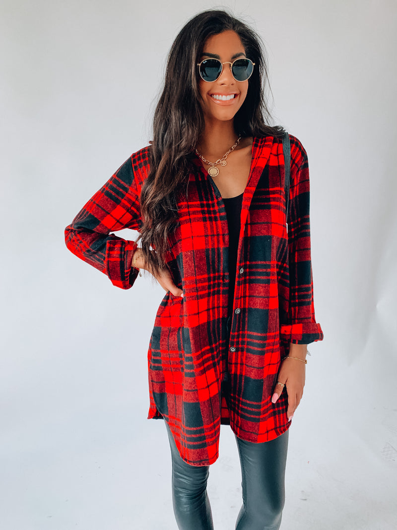Red and Black Fall Feels Flannel Jacket