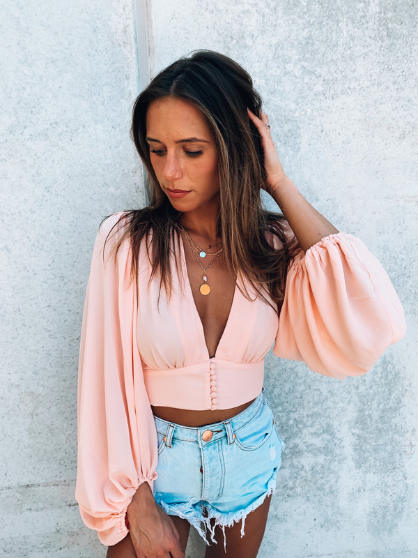 Peach Joy Long Sleeve Crop